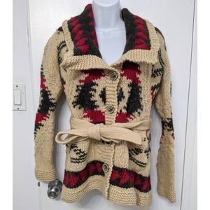 Eddie Bauer hand knit belted cardigan size small